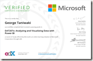 DAT207x Certificate