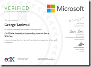DAT208x Certificate